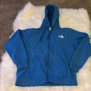 The North Face blue zip up hoodie XXL